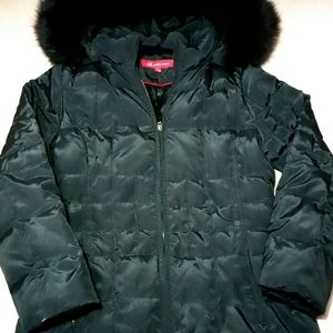 Anne Klein (S) Black Long Down Coat With Fur Hood